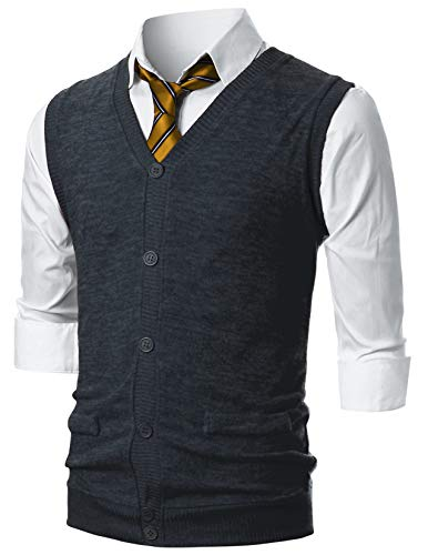 - GIVON Mens Slim Fit Casual V-Neck Lightweight Knitted Button-Up Vest with Fake Pokcets/DCV016-DARKCHARCOAL-XL
