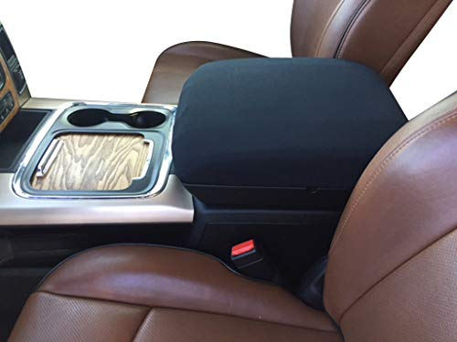 Auto Console Covers- Compatible with the Ram 1500, 2500, 3500 2012-18 Center Console Armrest Cover Waterproof Neoprene Fabric (Black) (Ram Dodge Body Armour)