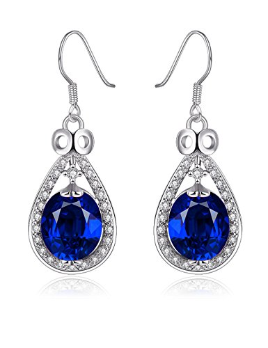 PMANY Blue Sapphire Teardrop Dangle Earrings Classic Platinum Plated CZ Bridal Pendant Earrings (Platinum Blue Sapphire Ring compare prices)