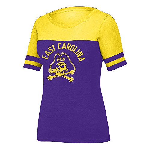 - J America NCAA East Carolina Pirates Women's Stadium Tee, Large, Purple/Yellow