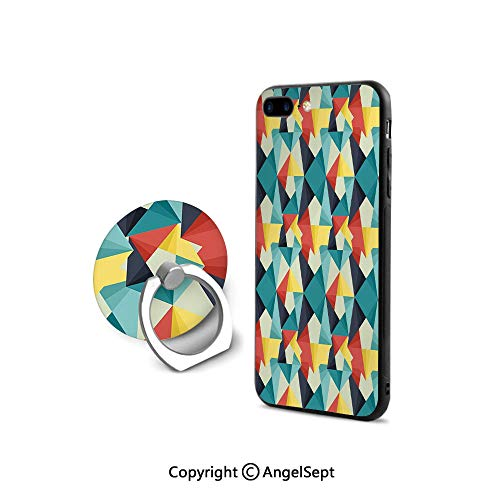 Protective Case for iPhone 8/iPhone 7 with Ring Holder Kickstand,Colorful Geometric Triangles Fractal Unusual Various Forms Artful Hipster Graphic Decorative,Ultra Thin Slim Cover Case,Multicolor