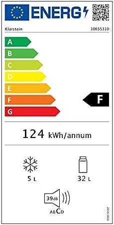 Klarstein Audrey Mini 2in1 - Mini nevera, Frigorífico pequeño, Eficiencia energética F, Tirador cromado, Estilo americano, Iluminación LED, Diseño compacto, Bisagra intercambiable, 37L, Crema[Clase de eficiencia energética F]