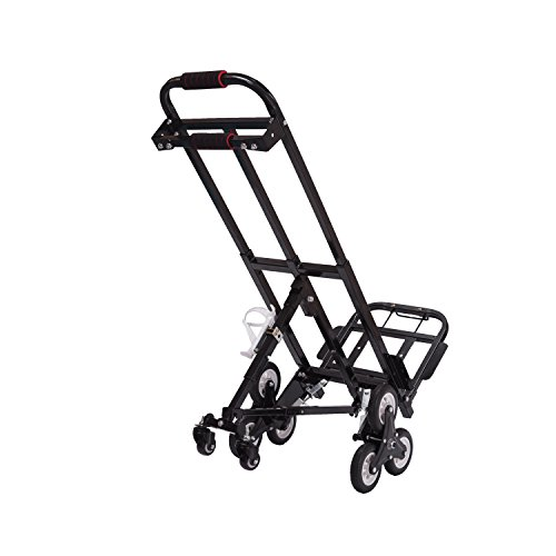 Mecete Enhanced Stair Climbing Cart Portable Climbing Cart 460lb Largest Capacity All Terrain Stair Climbing Hand Truck Heavy Duty with 6 wheels (Black) with Universal wheels Baking Varnish Shining by Mecete (Image #5)