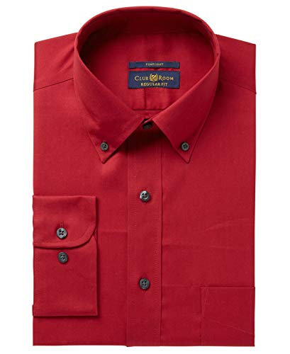 Club Room Men's Regular Fit Solid Pinpoint Dress Shirt (Claret, 16.5
