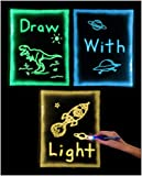 GlowSketch: Use Light To Draw - Glow in the Dark Drawing Sheet - Tracing, Coloring, and Doodling for Kids, Reusable, No Mess (3 Pack - Green, Orange, and Blue Glow Sheet)