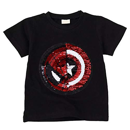 (Tsyllyp Boys Child Kids Superhero Sequin T-Shirts Spiderman Cotton Pullover Tops)