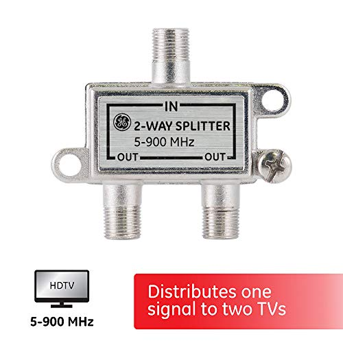 GE 2-Way Coaxial Cable Splitter, 5-900 Mhz Range, RG59 RG6 Coax Compatible, Audio, Video, Works with HD TV, Cable, Amplifiers, Amplified Antennas, Nickel, Corrosion Resistant, 35046