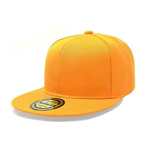 ChoKoLids Flat Visor Snapback Hat Blank Cap Baseball Cap - 14 Colors (Gold)
