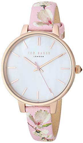 Ted Baker Women's ' 'Kate' Stainless Steel Analog-Quartz Watch with Leather Strap, Pink, 12: ((Model: TE50005019/17)