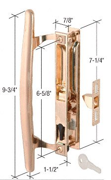 CRL Brass Plated Flush Mount Keyed Sliding Glass - Glass Storm Door With Lock