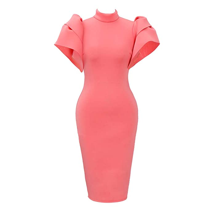 9aa88b54d374 Kulywon Bodycon Dress Women Plus Size Vintage Ruffled Turtle Neck Cloak  Sleeve Pencil Party Dress Pink