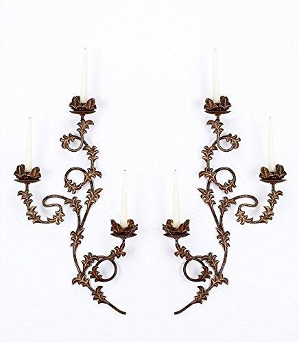Floral Sconce (Ornate Lavish Floral Vine Wall Sconce Pair | Candle Holder Old World)
