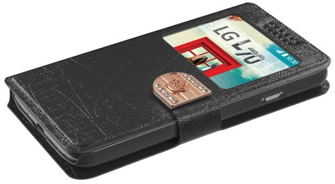 Asmyna Embossed Book-Style My Jacket Wallet for LG MS323 Optimus L70 - Retail Packaging - Black ()