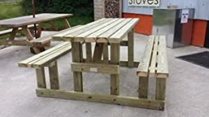 6ft Walk in Picnic bench table Heavy duty pressure treated whitewood with parasol hand built in the UK