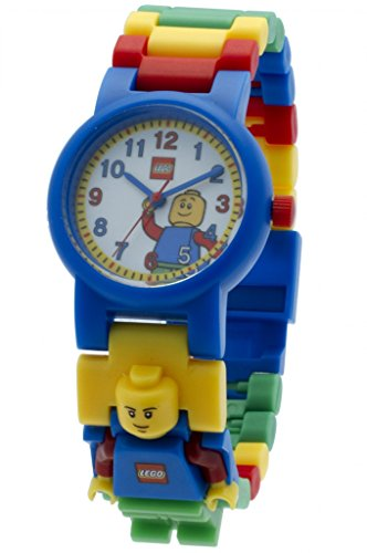 Boys Acrylic Watch (LEGO 8020189 Classic Kids Minifigure Link Buildable Watch | black/yellow | plastic | 28mm case diameter| analog quartz | boy girl | official)