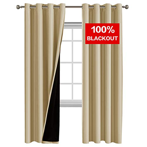 (Flamingo P 100% Blackout Curtain Set, Thermal Insulated & Energy Efficiency Window Drapery, Lined Silky Performance, Wheat Color, Grommet, Set of 2, W52 x L84)