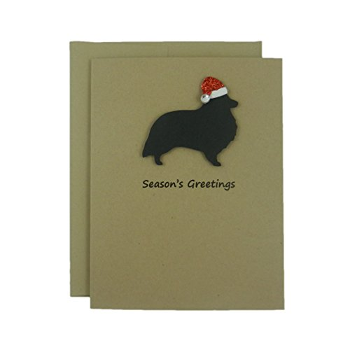 heepdog Christmas Cards - 10 Pack - Santa Hat - Christmas Cards - Holiday Cards - Dog Silhouette - Dog Holiday Cards - Kraft ()