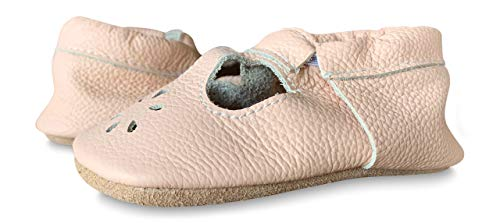 Lucky Love Baby & Toddler Soft Sole Prewalker Skid Resistant Boys & Girls Shoes (2 | 6-12 M | 4.75 inches, T-Strap Blush) ()