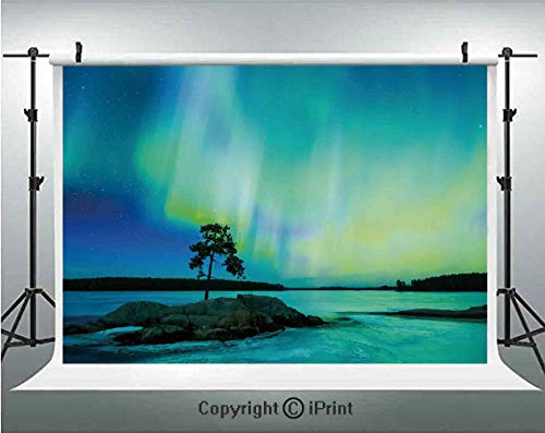 Northern Lights Photography Backdrops Single Tree Over Rocky Stone by River Borealis Earth Beauty Image,Birthday Party Background Customized Microfiber Photo Studio Props,7x5ft,Teal Blue Lime Green