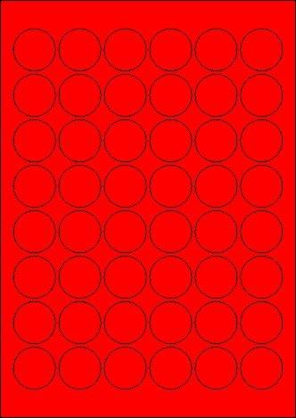 480 Etiketten Farbetiketten selbstklebend rund 30 mm ROT permanent klebend auf Bogen A4 (10 Bögen x 48 Etik.)