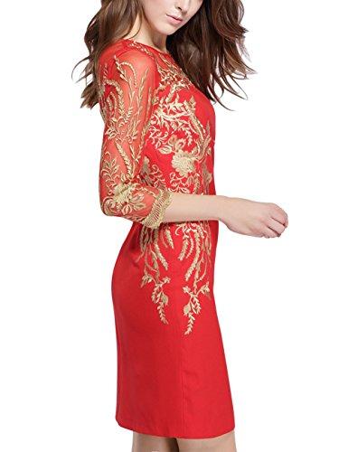 Kleid Schlittschuhläufer Mena 1950s Stickerei Spitze Kleider Kleid Weinlese Frauen Schaukel Rot für Schlauch HzH0qw