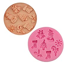 OHYES Handmade Christmas Snowmen Snowflake Bell Stockings Chocolate Cake Fondant Mould Cookies Icing Baking Mold