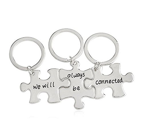 Meiligo Fashion 3 Pcs Best Friends Forever Gift Alloy We will always be connected Letter Puzzle Dog Tag Necklace Key Chain Square Matching Engraved Letter Necklace Set (Key Chain - Silver(3 pcs))
