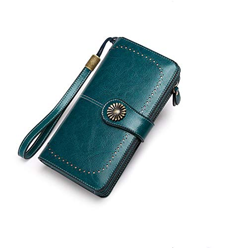Womens Wallet Leather RFID Blocking Purse Large Capacity Card Organizer Vintage Lady Long Trifold Clutch By BAIGIO (Blue)