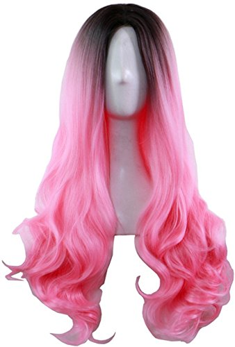 AneShe Ombre Wig Long Wavy 2 Tone Black and Pink Ombre Wig Dark Roots Heat Resistant Fiber Full Wigs for Women (Black to Pink) ()