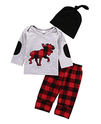 3PCS Halloween Baby Boy Girl Clothes Deer Animal Print T-Shirt Long Sleeve Top +Plaid Long Pants +Hat Outfits Set (70)