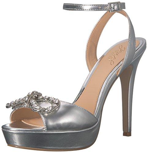 Badgley Mischka Jewel Women's Mildred Heeled Sandal, Silver/Metallic, 9.5 M US