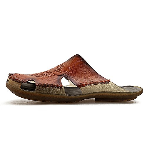 Shoes No Sandali Glue per Beach Aperta Sport Toe all'Aria Yao Pelle Marrone in for Antiscivolo da Pantofole Men Spiaggia Closed Uomo Summer 6HfqwZAOU