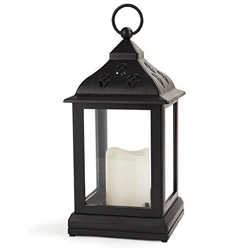 Bright Zeal 9 Vintage Candle Lantern with LED Flickering Flameless Candle (Black, 8hr Timer) - Decorative Lanterns Battery Powered - Hanging Lanterns Decorative Indoor - LED Tabletop Lanterns