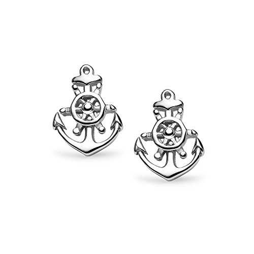 Silverline Wheel (Boat Helm Anchor Stud Earrings- Sterling Silver Sea Steering Wheel One Pair Set Charm Jewelry)