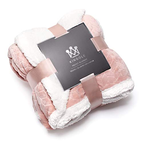 Kingole Double-Layer Reversible Luxury Sherpa Blanket, Timid Pink Throw Size Extra Warm Super Soft Cozy Plush for Couch/Bed Microfiber 580GSM (50 x 60 inches)