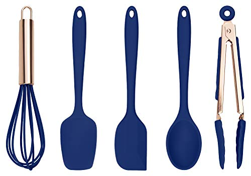 Cook With Color Set of Five Navy and Rose Gold Silicone Mini Kitchen Utensil Set ()