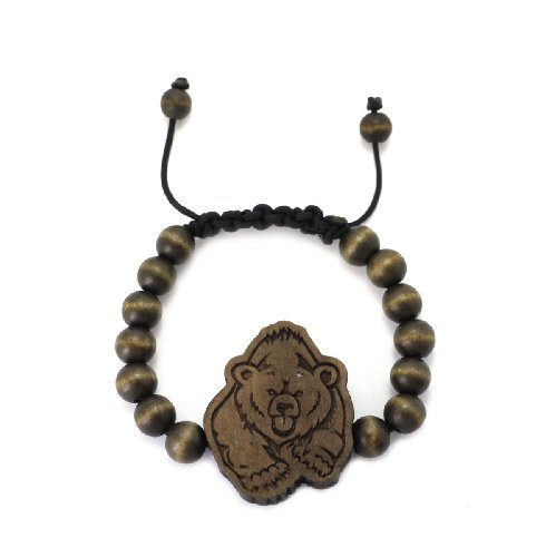 (Running Bear Wood Pendant Wooden Bead Chain Bracelet, Brown)