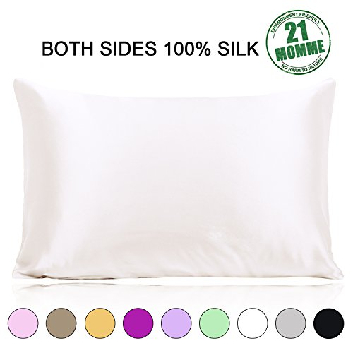 Ravmix Mulberry Silk Pillowcase 21 Momme 600 Thread Count Hypoallergenic Standard Size 100% Silk Pillow Case Cover for Hair and Skin with Hidden Zipper, Ivory - Pillowcase Hair Satin