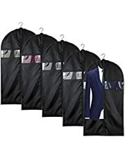 Foraineam 5 Pack 43 Inch Oxford Fabric Garment Bag with Zipper and Transparent Window for Travel and Storage, Anti-Moth Protector, Washable Garment Covers for Suits, Coats, Dresses, Shirts & More