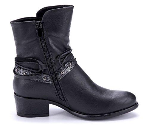 Schuhtempel24 Damen Schuhe Klassische Stiefeletten Stiefel Boots Blockabsatz Nieten/Used Look 5 cm Schwarz