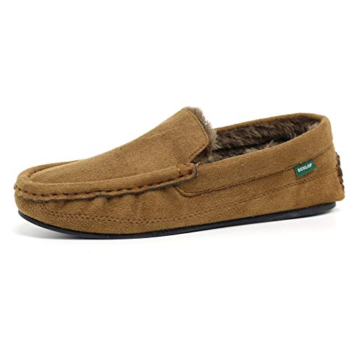 Mens Famous Dunlop GEORGE Moccasin Loafers Faux Sheepskin Fur Slippers with...
