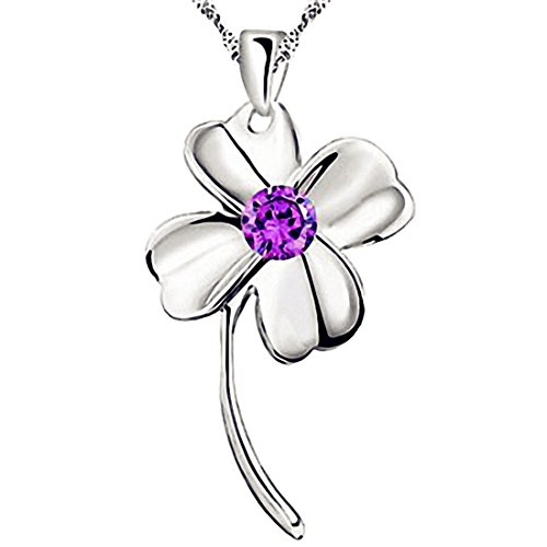 SWEETIE 8 Women's 18K White Gold Plated Silver Pendant Necklace
