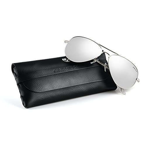 GREY JACK Polarized Classic Aviator Sunglasses Lightweight Style for Men Women Silver Frame Silver Lens Medium ()