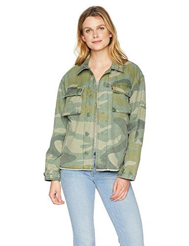 Levi's Women's Cotton Two Pocket High Low Shirt Jacket, Camouflage Medium - Printed Denim Jacket