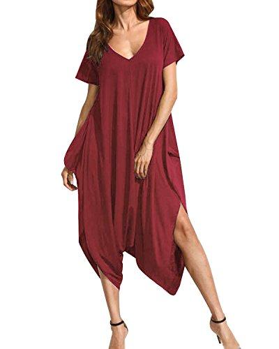 Auxo Womens Harem Jumpsuit One Piece V Neck Summer Short Sleeve Jumper Romper Playsuit Y-Wine Red 2XL