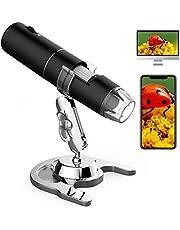 Draadloze Digitale Microscoop, 50X tot 1000X Vergroting Handheld USB Elektronische Endoscoop Vergrootglas met 8 Verstelbare LED Lichten 1080P FHD Pocket Zoom Camera met Android, iPhone, Tablet, Windows, Mac