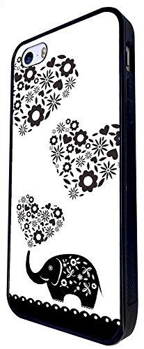 043 - Cute Aztec Elephant Cute Paisley Love Hearts Design iphone SE - 2016 Coque Fashion Trend Case Coque Protection Cover plastique et métal - Noir