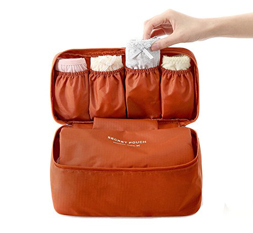 (H&N Foldable Underwear Holder Multi-Functional Travel Bra Organizer Waterproof Zip Underwear Lingerie Case Travel Bra Socks Storage Bag)
