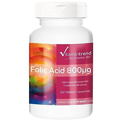 Ácido fólico 800mcg - ¡bote para 1 AÑO! - alta dosificación - vegano. Sustancia pura: Amazon.es: Salud y cuidado personal