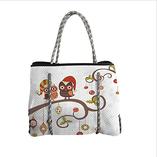 iPrint Neoprene Multipurpose Beach Bag Tote Bags,Christmas Decorations,Owls on Decorated Twiggy Tree Branches Annual Yule Noel Christmas Themed,Multi,Women Casual Handbag Tote Bags